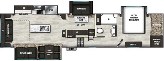 Coachmen RV Brookstone 398MBL Floorplan 5th Wheel Trailers