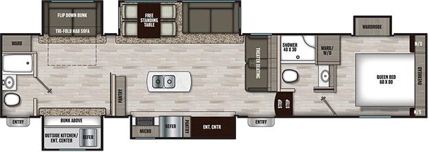 Coachmen RV Chaparral 367BH Floorplan 5th Wheel Trailers