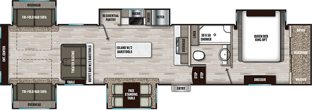Coachmen RV Chaparral 381RD Floorplan 5th Wheel Trailers