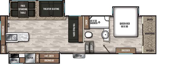 Coachmen RV Chaparral 27RKS - DSO Floorplan 5th Wheel Trailers