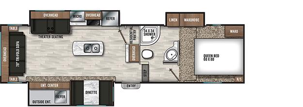 Coachmen RV Chaparral Lite 285RLS Floorplan  5th Wheel Trailers