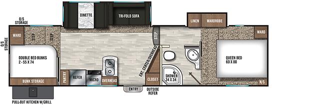 Coachmen RV Chaparral Lite 295BHS Floorplan  5th Wheel Trailers