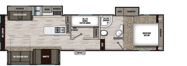 Coachmen RV Chaparral Lite 30BHS Floorplan  5th Wheel Trailers